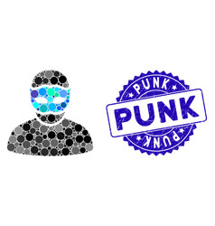 Collage mask person icon with grunge punk stamp vector