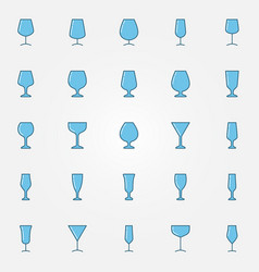 colorful glasses icons set vector image
