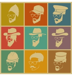 colorful of icons of people in hats vector image