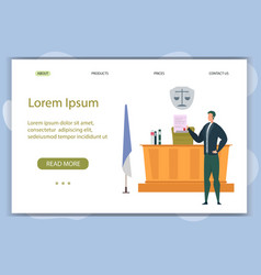 Convincing speech at court session landing page vector