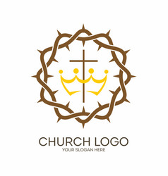 Crown of thorns and cross vector