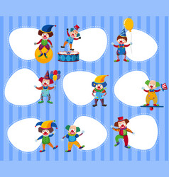different border templates with funny clowns vector image