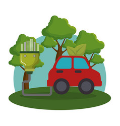Ecology car vehicle icons vector