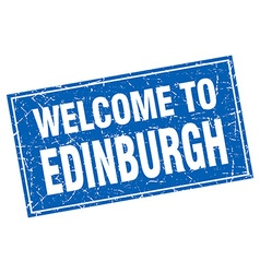 Edinburgh blue square grunge welcome to stamp vector