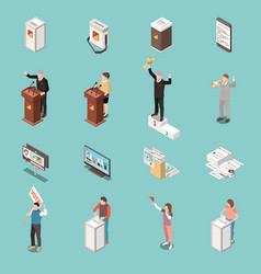 Election voting isometric icons set vector