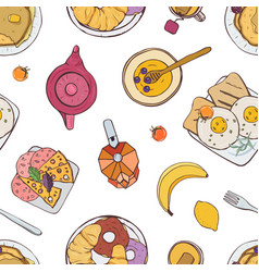 Elegant seamless pattern with appetizing breakfast vector