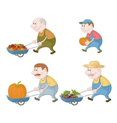 Farmers with vegetables and pumpkins vector image