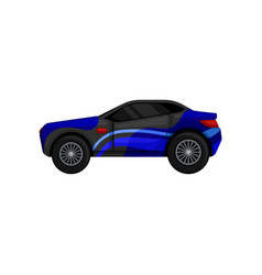 Fast racing car with large tires tinted windows vector