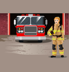 Female firefighter in front of fire station vector