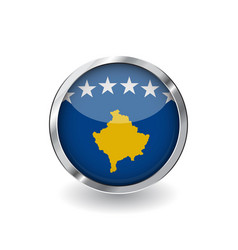 Flag of kosovo button with metal frame and shadow vector