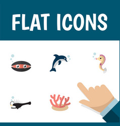 Flat icon sea set of scallop algae hippocampus vector
