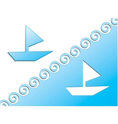 from a blue cardboard a boat with a sail and vector image