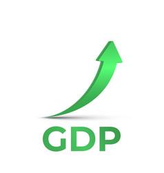 Gdp high growth green arrow up icon increase vector
