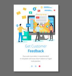 Get customer feedback landing page template vector
