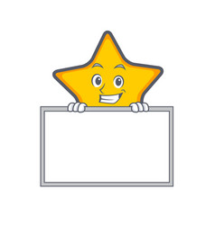 grinning star character cartoon style with board vector image
