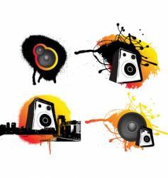 grunge speaker set vector image