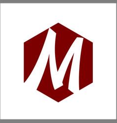 hexagon initial m logo vector image