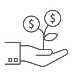 investment growth thin line icon finance banking vector image
