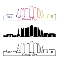 Kansas City V2 skyline linear style with rainbow vector