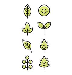 leaf design line icon green line leaf vector image