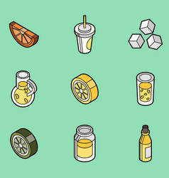 lemonade flat outline isometric set vector image