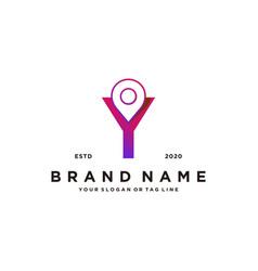 Letter y map pin logo design vector