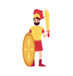 Man or ares greek god stands in armor holding vector