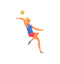 Man volleyball player serving ball professional vector