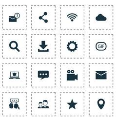 Media icons set collection overcast gif vector