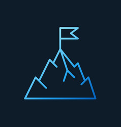 Mountain with flag blue outline icon or vector
