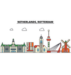 Netherlands rotterdam city skyline architecture vector