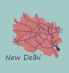 New delhi map flat style design vector