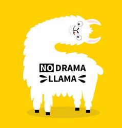 No drama llama alpaca turning face head tongue vector