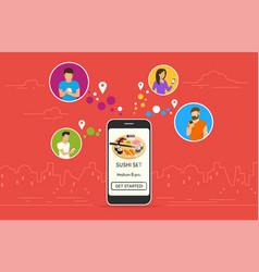 ordering sushi online concept design vector image