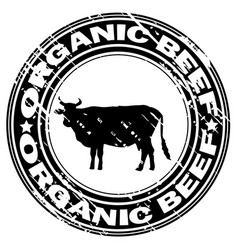 organic beef rubber stamp vector image