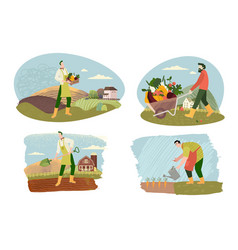 organic farming agriculture and gardening vector image