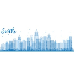 Outline Seattle City Skyline with Blue Buildings vector