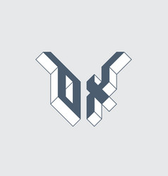 Ox - monogram or logotype isometric 3d font for vector