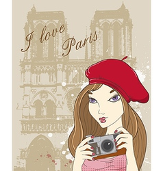 paris girl vector image