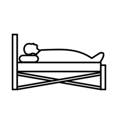 Patient in bed in hospital icon outline style vector
