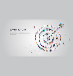 people crowd gathering in shape target with vector image