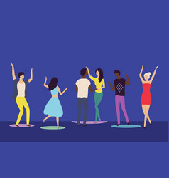 people moving on dance floor nightclub vector image