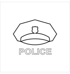 Police cap outline icon Serviceman's hat symbol vector