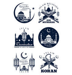 Ramadan kareem islam religion greeting card design vector