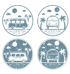 retro bus with surfboard grunge labels set vector image