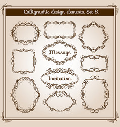 Retro floral calligraphic wicker frames vector