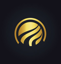 Round globe technology gold logo vector