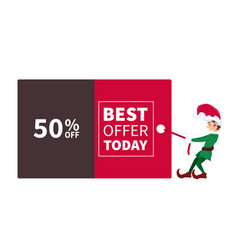 santa claus elf pulling promotion and discount pos vector image