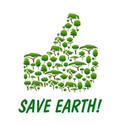 Save Earth Thumb up shape emblem vector