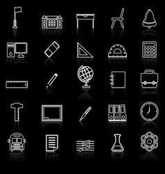 School line icons with reflect on black vector